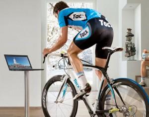Entrenamiento en rodillo de ciclismo